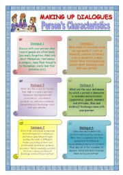 English Worksheet: Making up Dialogues: Person�s Characteristics