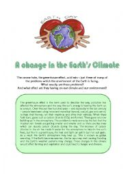 English Worksheet: A Change in the Earth´s Climate