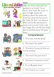 English Worksheets: Likes and Dislikes: colour and greyscale