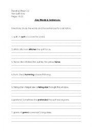 English worksheet: reading street