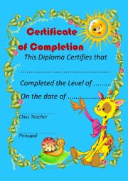 English Worksheet: Certificate of Completion