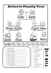English Worksheet: Robert�s Family Tree