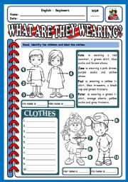 English Worksheet: WHAT ARE THEY WEARING? - 2
