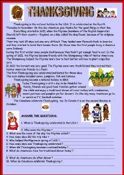 English Worksheet: Thanksgiving & KEY