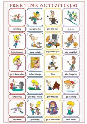 English Worksheets: Free Time Activities #1