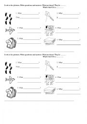 English Worksheets: What�s this? / What are these?