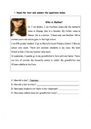 English Worksheets: Who is Melike?
