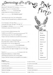 English Worksheet: Song: Learning to Fly - Pink Floyd and reading