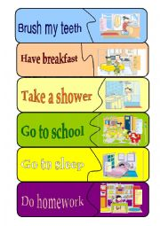 English Worksheets: Daily activities  + matching game