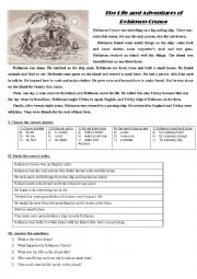 English Worksheet: The Life and Adventures of Robinson Crusoe