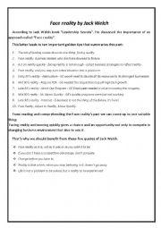 English Worksheets: face reality