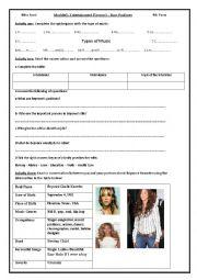 English Worksheets: Lesson5:Stars Pastimes
