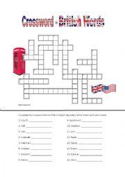 English Worksheet: British English  - Crosswords