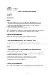 English Worksheets: 9th gr, module 6 lesson 4 : Clubs, Associations And Charities