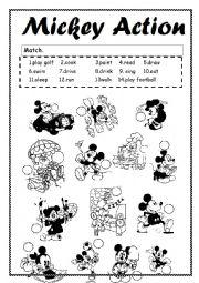 English Worksheets: Mickey Action