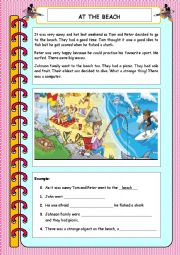 English Worksheet: movers part 5 elementary reading At the beach