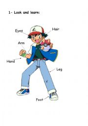 English Worksheet: BODY PARTS POKEMON