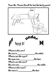 English Worksheets: Poor Mr. Potatoe Head