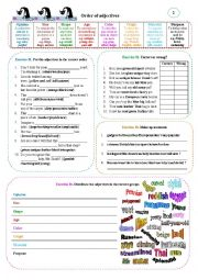 English Worksheet: Order of adjectives 02