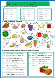 English Worksheet: Food - TEST *countables/uncountables; a/an/some/any; food vocabulary; useful restaurant phrases*