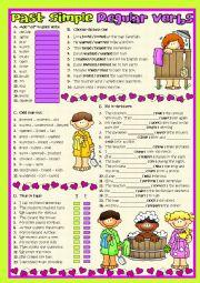 English Worksheet: Past Simple - Regular Verbs (b&w included)