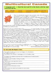 English Worksheet: MULTICULTURAL CANADA