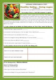 English Worksheet: LISTENING COMPREHENSION ACTIVITY- HEALTHY EATING- GOING VEGAN