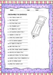 English Worksheets: reorder the sentences