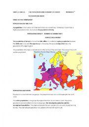 English Worksheet: the population and economy of europe