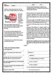 English Worksheet: the history of youtube
