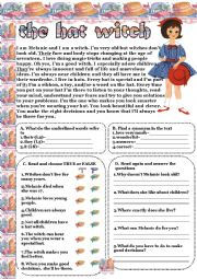English Worksheets: the hat witch