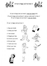 English Worksheets: If You Are Happy and You Know It !!!