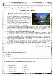 English Worksheet: Test 9th grade (A trip to New Zealand)