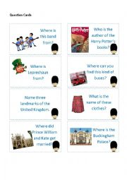 English Worksheets: United Kingdom Board Game (48 cards and Answer Key)