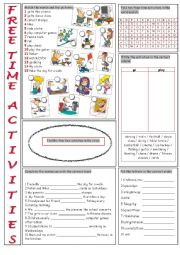 English Worksheets: Free Time Vocabulary Exercises
