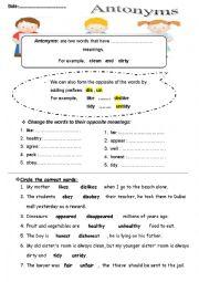 English Worksheet: Antonyms ( prefixes)