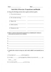 English worksheet: prepositions of time and models