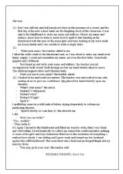 English Worksheet: Reading about first day at school