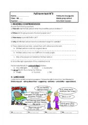 English Worksheet: 9TH FORM FULL TERM TEST 3 PART ONE