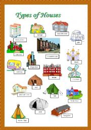 Intermediate Esl Worksheets Types Of Houses Pictionary