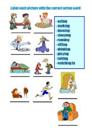 English Worksheets: Action words ending in -ing