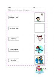 English Worksheets: having fun (matching)