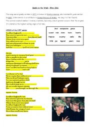English Worksheet:  Candle in the wind by Elton John