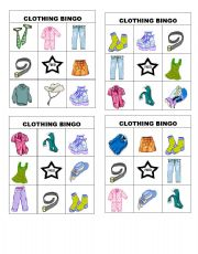 English Worksheet: clothing bingo