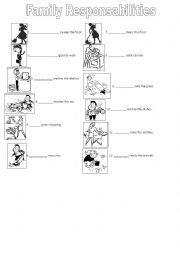 english worksheets family duties. Black Bedroom Furniture Sets. Home Design Ideas
