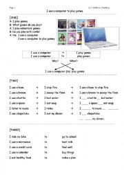 English Worksheet: I use a computer to play games