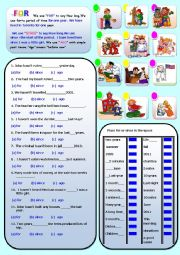 English Worksheets: FOR, SINCE AND AGO