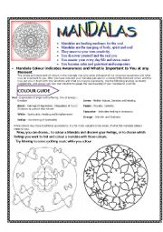 English Worksheets:  Mandalas:  Meaning and colouring