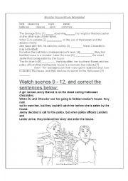 English worksheet: monter house worksheet