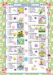 English Worksheet: Spring words Quiz